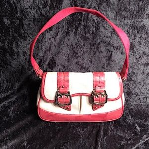 COLE HAAN PINK & CREAM SHOULDER BAG